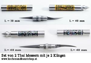 Thai Schnitzmesser für Obst & Gemüse mit je 2 Klingen  2er Set
