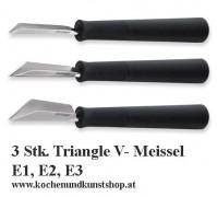 3 Stück Triangle Gemüse Schnitzmesser, V- Meissel