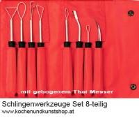 Obst & Gemüse Schnitzmesser Schlingenwerkzeuge 8-teiliges  Set 8-teilig in roter Nylon Tasche