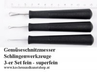 Gemüse Schnitzmesser, Schlingenwerkzeuge fein - super fein 3-er Set3-er Set