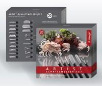 Triangle Obst & Gemüseschnitzmesser Set ARTIST 20-teilig in schwarzer Nylon Rolltasche