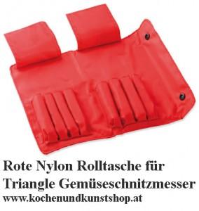 Rote Nylon Rolltasche für Triangle Gemüse Schnitzesser