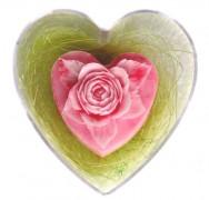 Seifenherz Rose in klarer Herzdose
