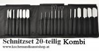 Angkanas Triangle Obst & Gemüseschnitzmesser Set  KOMBI 20-teilig in schwarzer Nylon Rolltasche